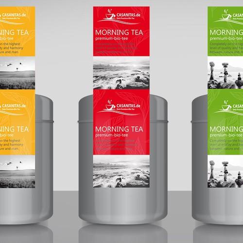 Tee Label Aufkleber für Teedose (4 Sorten) / Tea Label Sticker forTea Can / Box