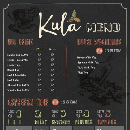 Tea Bar Menu and Logo design