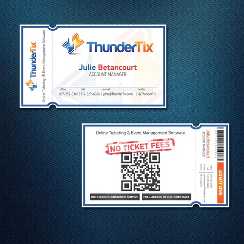Ticket-Style Business Cards for ThunderTix