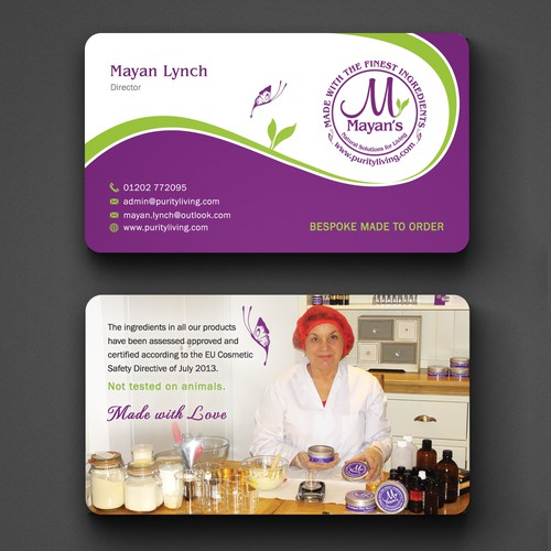 "Business Card for ""Mayan's purityliving"" Hand Made Natural Skin Care."