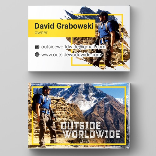 Business card for a travel and adventure video company