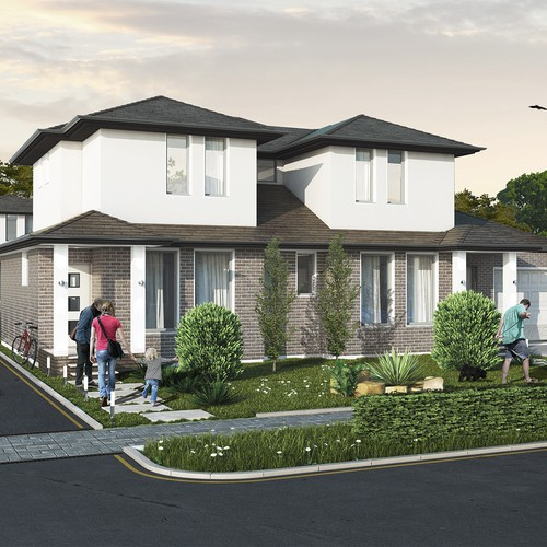 Townhouse exterior visualization