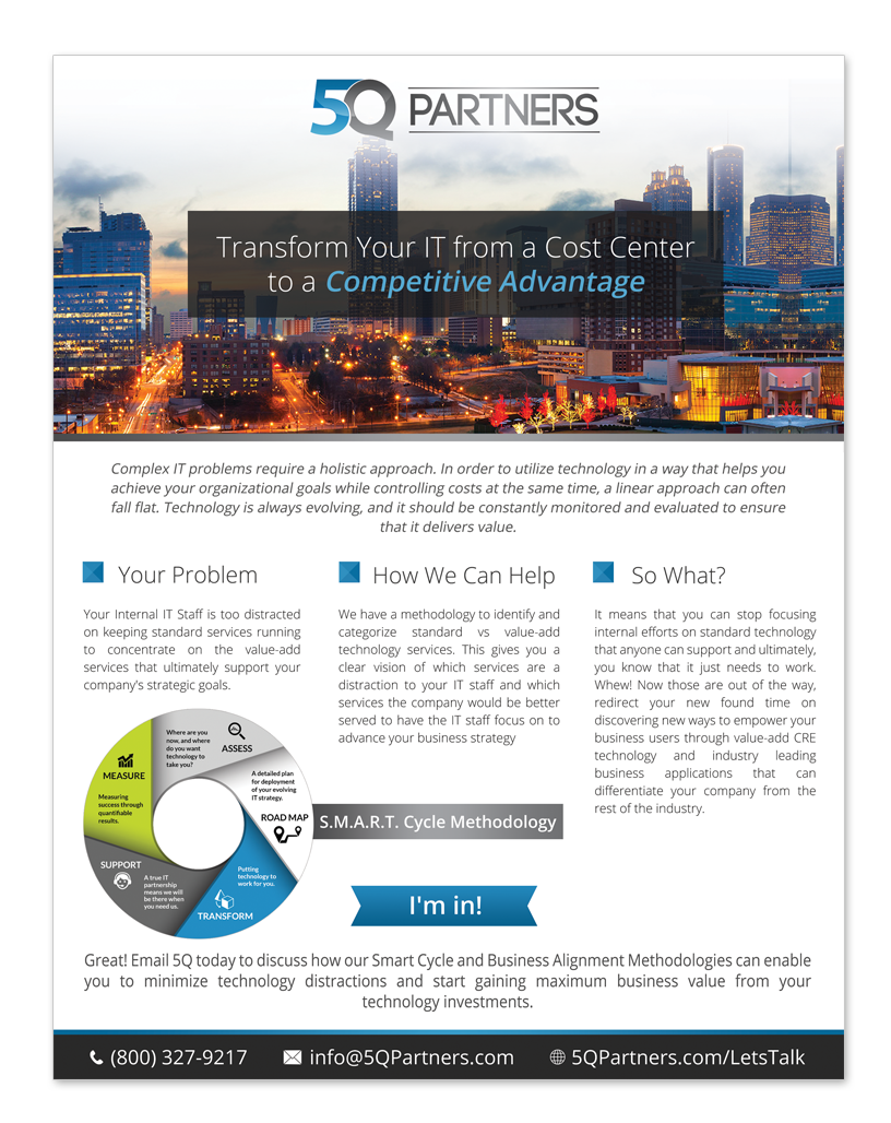 Create a flyer/brochure for an IT Consulting Firm