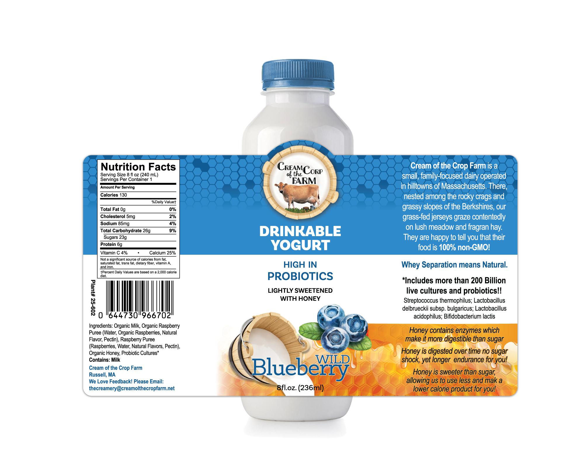 Cream of the Crop Drinkable Yogurt Label
