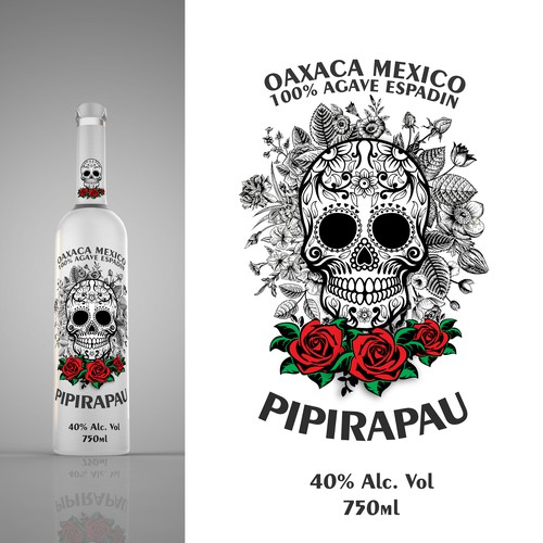 Glass Bottle/Label Design for Mezcal Pipiripau
