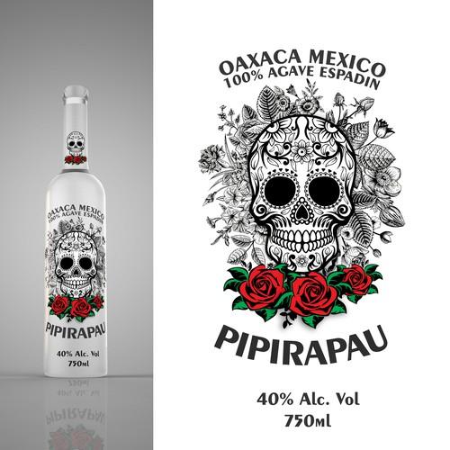 Glass Bottle/Label Design for Mezcal Pipiripau
