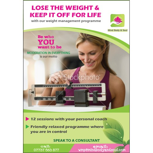 Weight management consultancy needs a tranquil & motivating promotional flyer!