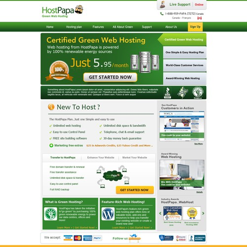 Top Hosting site needs YOUR design for landing page