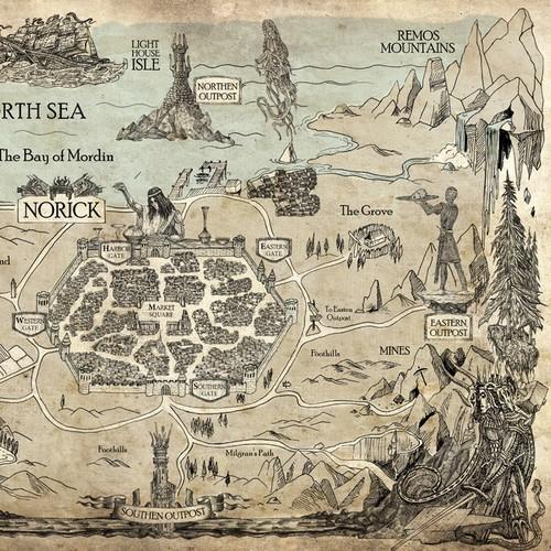 Fantasy map drawing