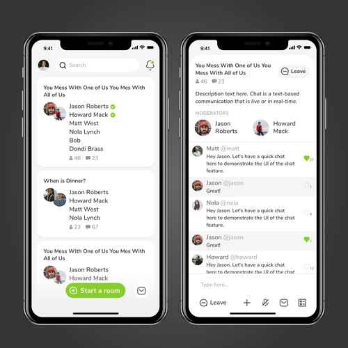 Design 2 iOS social chat app screens