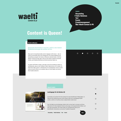 Modern, minimalist website for Waelti Content & PR