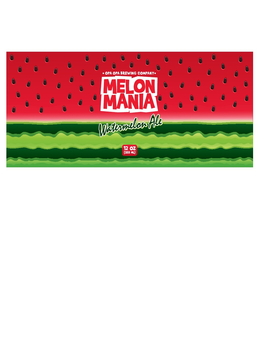 Melon Mania Watermelon Ale Beer Can Label