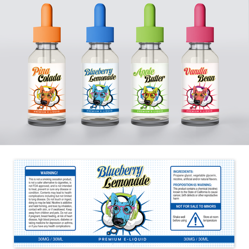 Create a captivating label for an upcoming premium e-juice line
