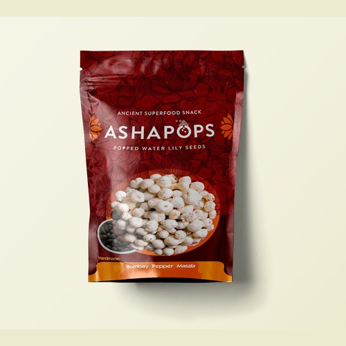 package design for popped lily seeds