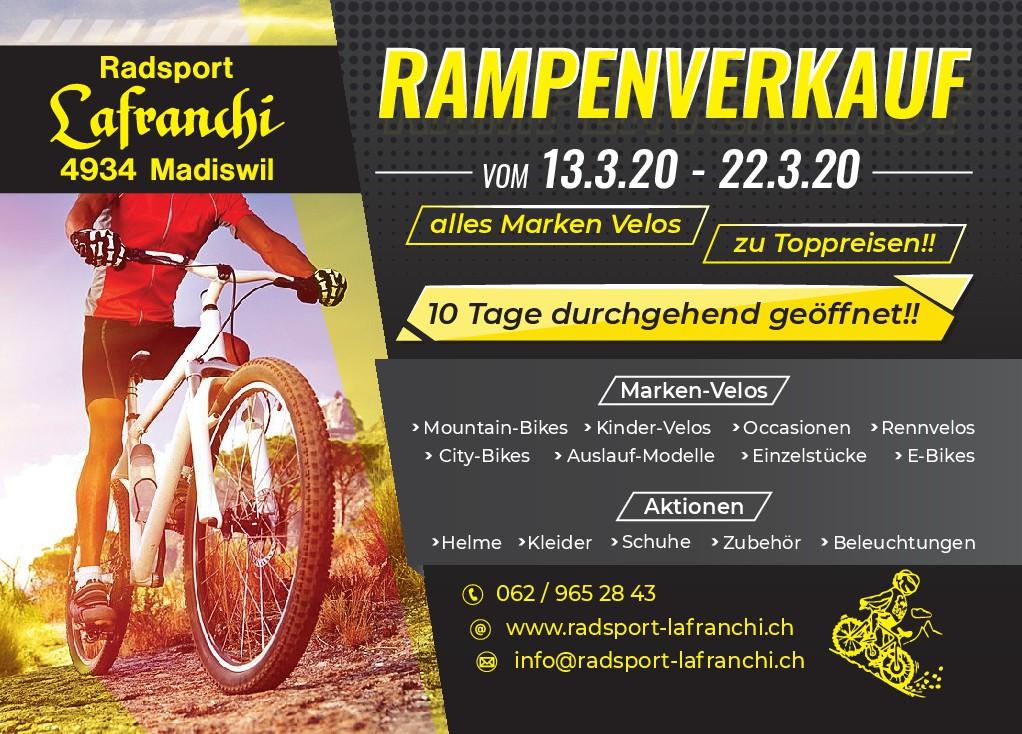 Werbeflyer für Fahrrad Rampenverkauf;