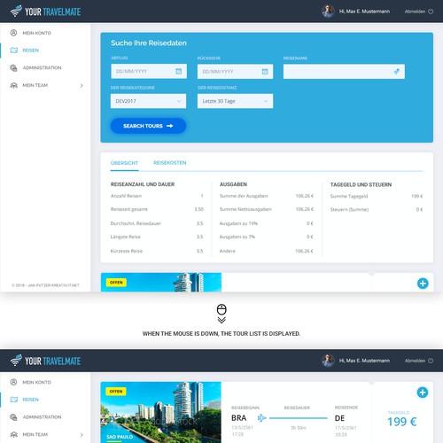 Erstelle ein übersichtliches und modernes Design für eine Reiseliste mit Dashboard