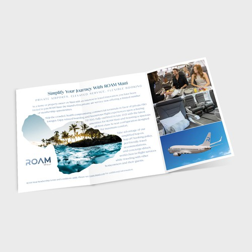 Trifold brochure mailer for air service