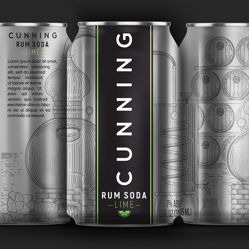 Labeling for a cans of Rum with Soda & Lime.