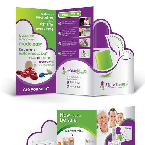 Create the next brochure design for Home Meds pharmacy services