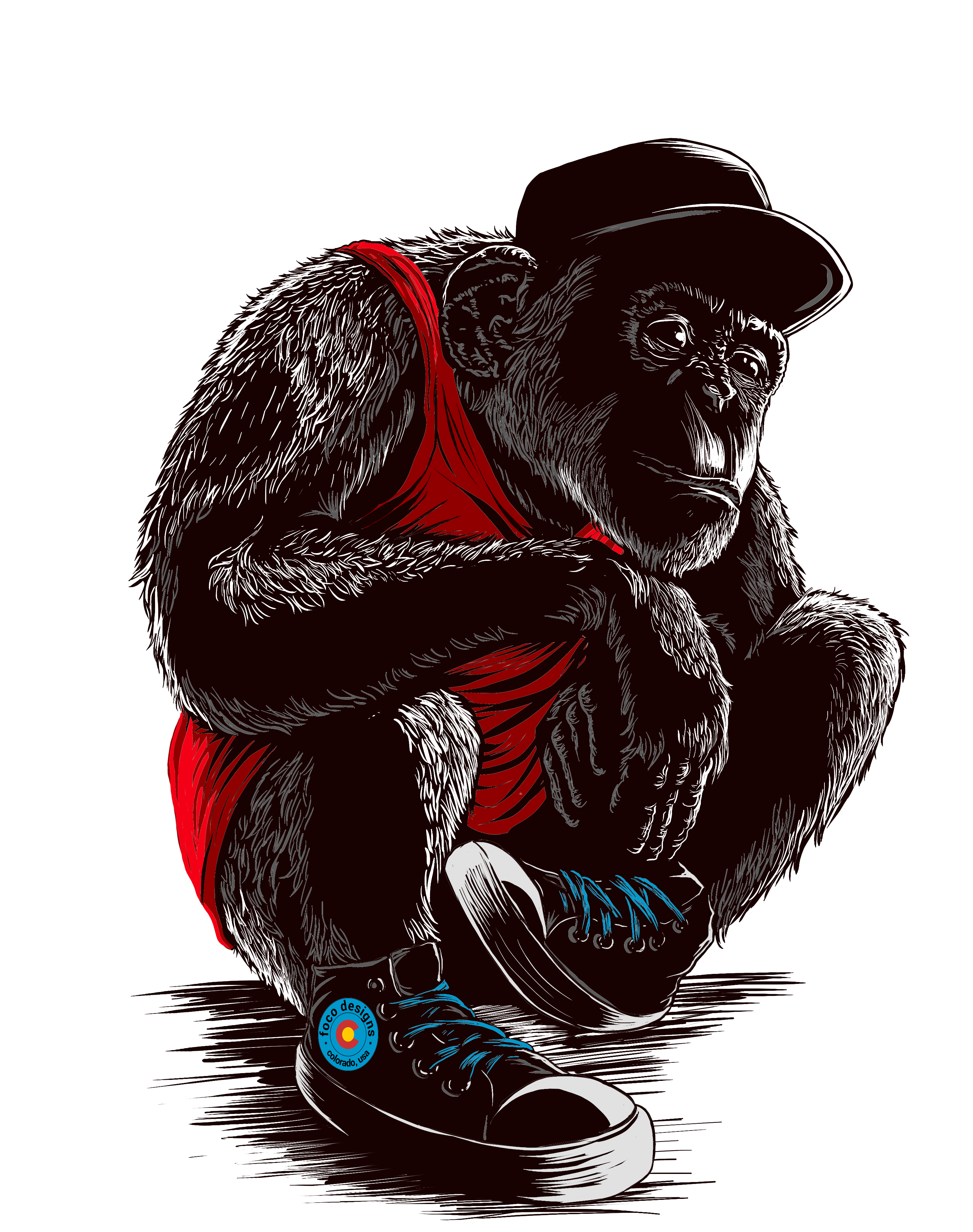 "Design a ""Sneaker Chimps"" t-shirt for shopfocodesigns.com"