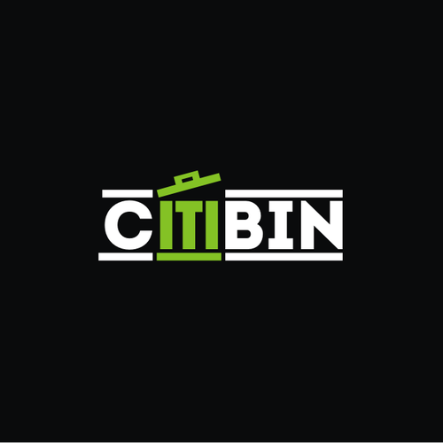 Create a word mark or emblem logo for CitiBin (an outdoor storage enclosure for trash cans)