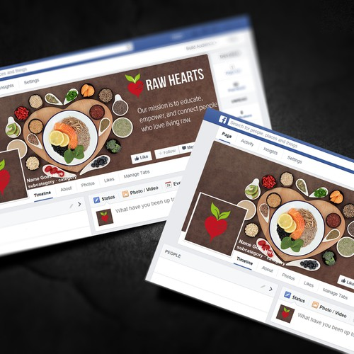 Raw Hearts facebook design concept.
