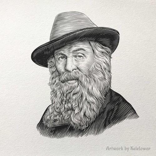 Walter Whitman Engraving portrait