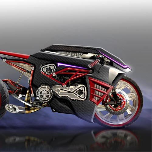 Futuristic custom motorcycle