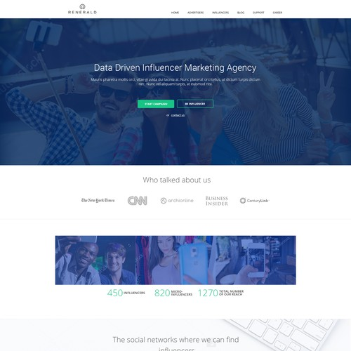 Design a very trustable landing page for Renerald