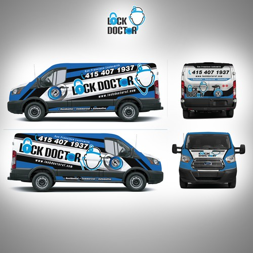 Ford Transit low roof LOCK DOCTOR van wrap
