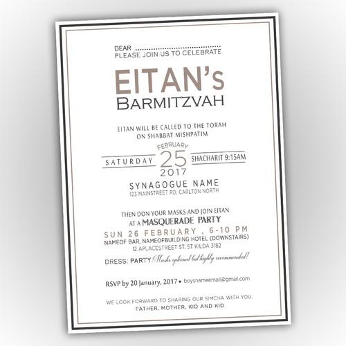 Elegant invitation for Barmitzvah