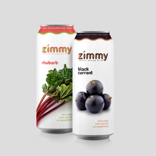Zimmy natural energy drink logo and package design