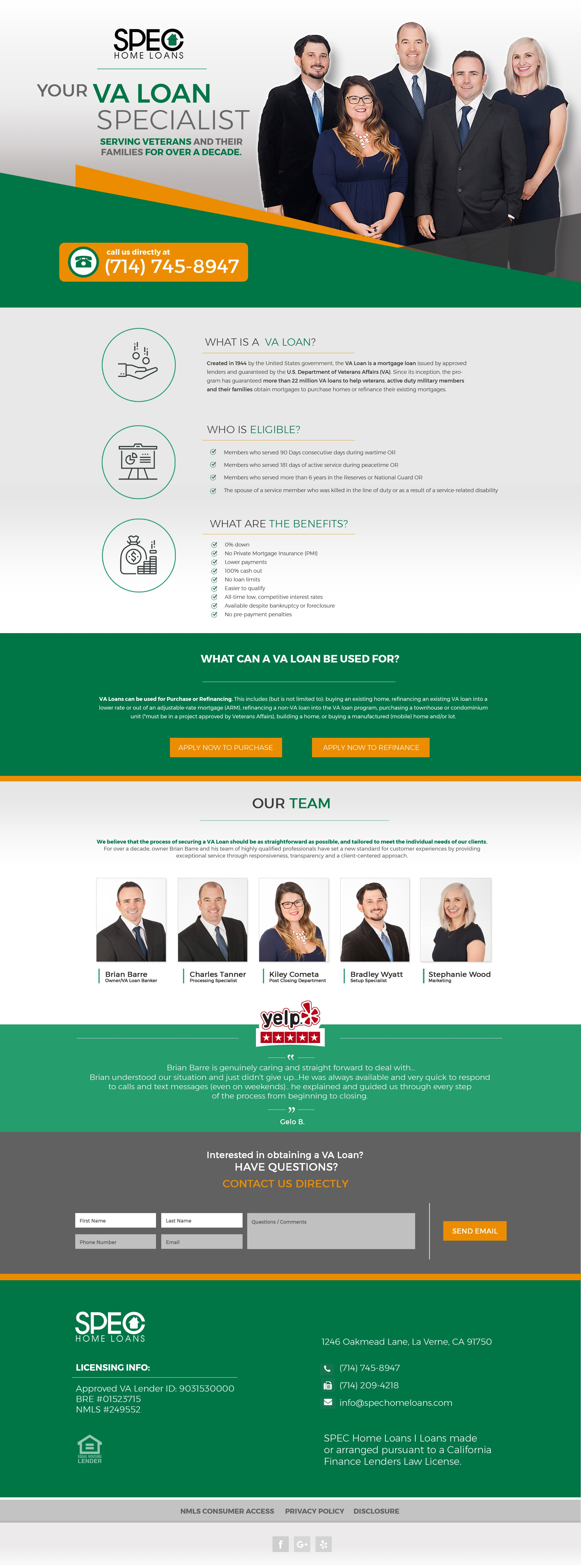 Design a Fresh Landing Page to Advertise VA Loans for Top Southern California Mortgage Company