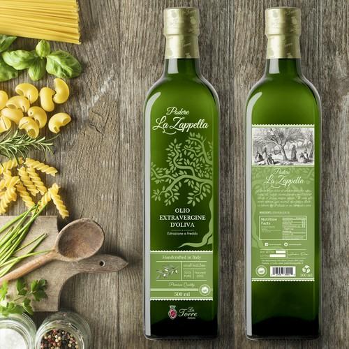 Extra virgin olive oil, label design