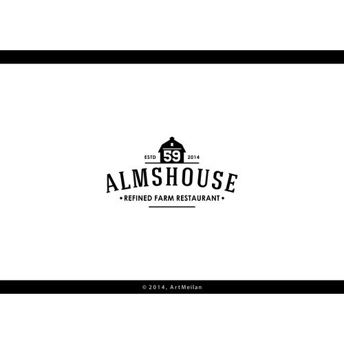 Create a unique and refined restaurant logo for 59 Almshouse