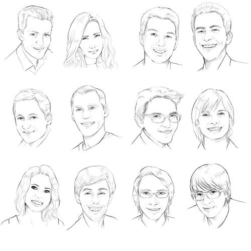 12 digital portrait style line-drawings of Bit Zesty staff members