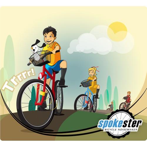 Retro-style 50's bike ad design for Spokester bike toy