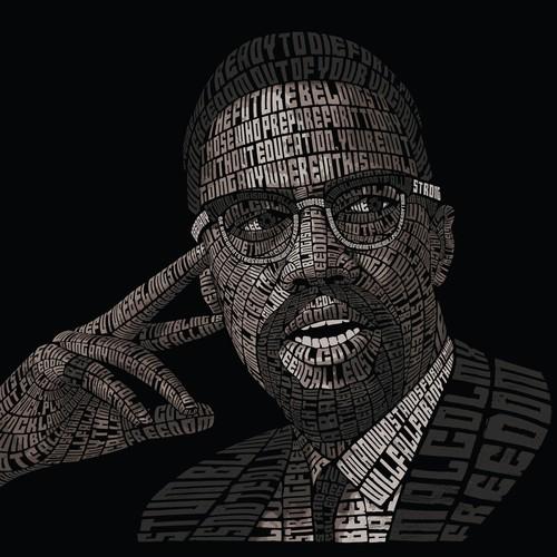 MalcolmX Typography Portrait