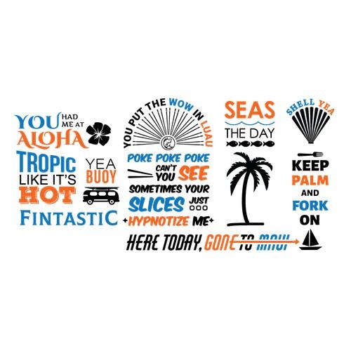 Typography mural for poke restaurant