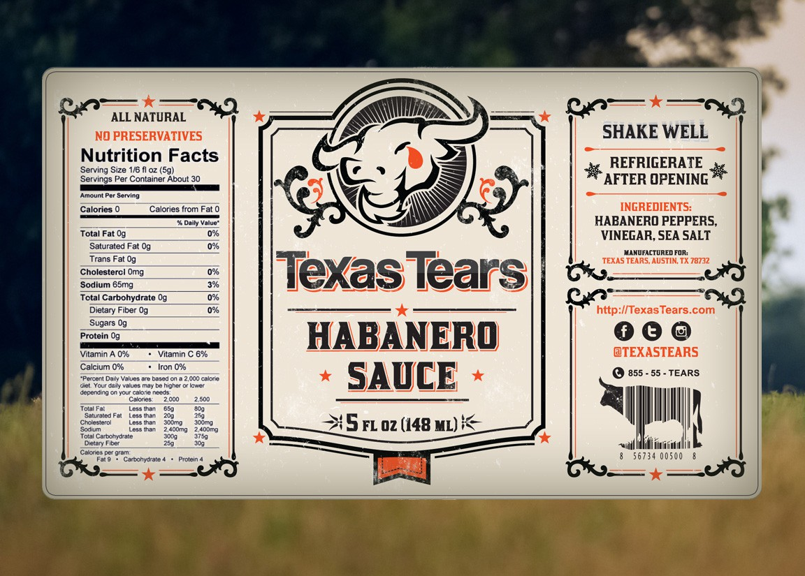 Texas Tears - Habanero Sauce and Bloody Mary Mix Label