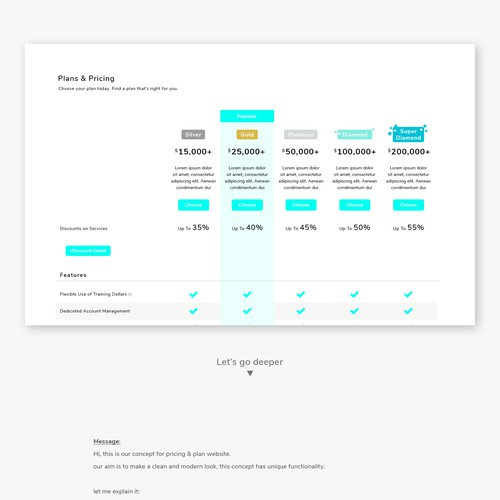 Plan & Pricing concept