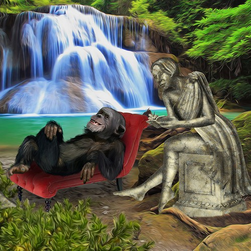 Create ARTISTIC, SURREAL image! A chimp in therapy? 2 statue like women? Cool!