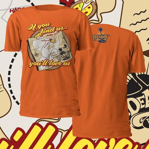 Create a funky t shirt design for an off the beaten path island pizzeria