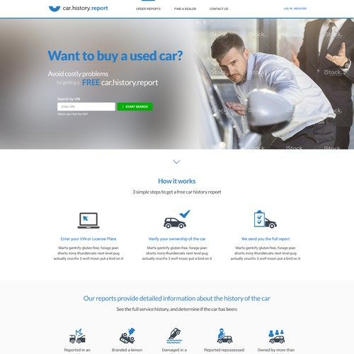 Webdesign for car history report website