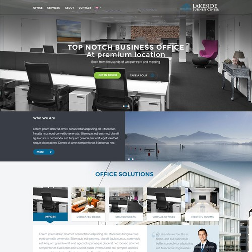 Create a modern responsive website for a premier business center
