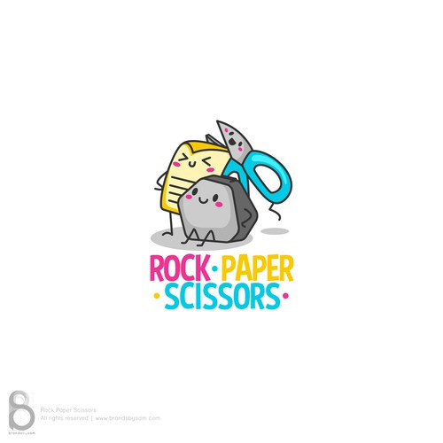 Logo for a kids school accessories brand - Rock Paper Scissors