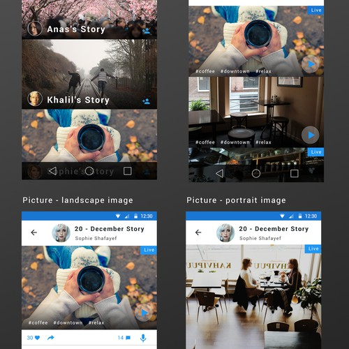 Photo and stories sharing app with audio comments