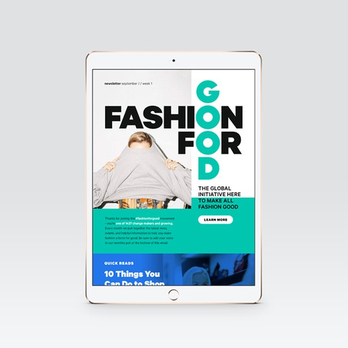 Modern email template for Fashion for Good