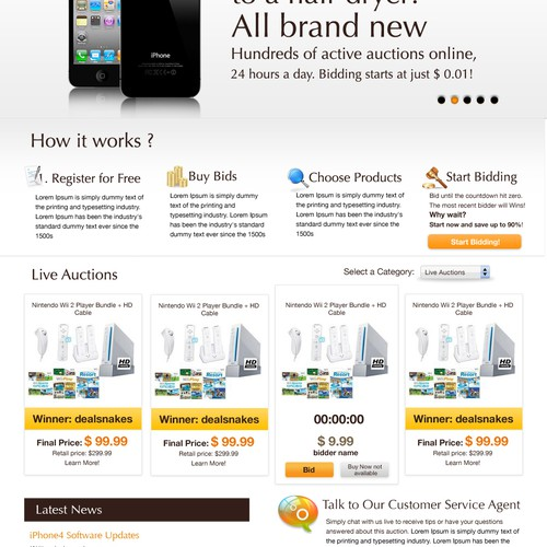 Reverse Auction needs Clean, Fun, New Homepage