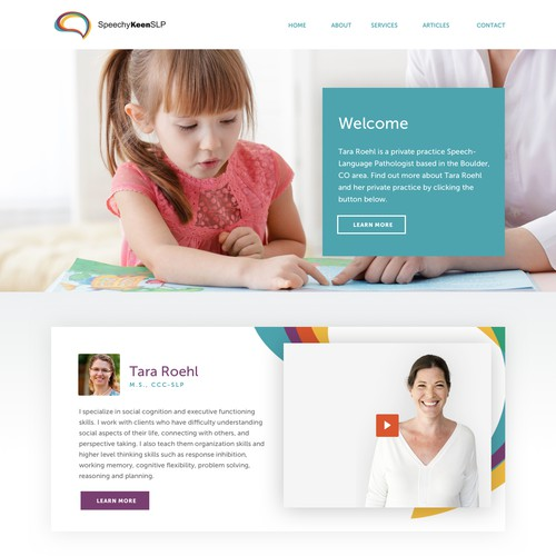 Homepage design for Speech therapy consultant